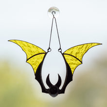 Load image into Gallery viewer, Yellow bat horror window hanging for Halloween