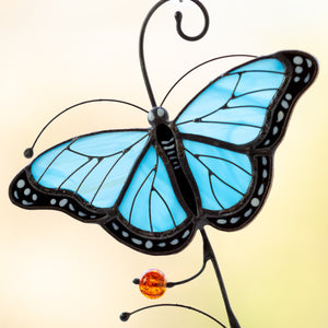 Zoomed stained glass blue butterfly window hanging