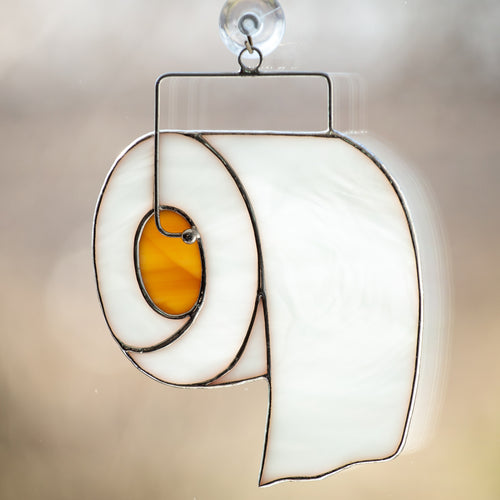 toilet paper stained glass suncatcher