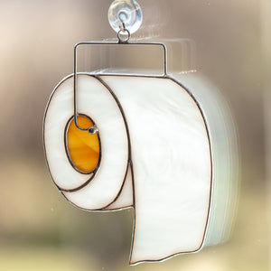 Zoomed stained glass toilet paper suncatcher