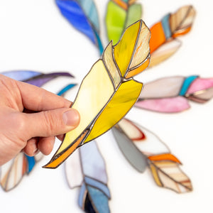 Stained glass goldfinch feather window hanging decor