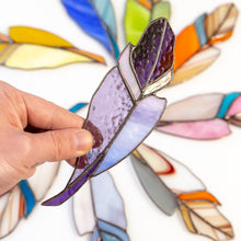 Load image into Gallery viewer, Purple feather suncatcher of stained glass