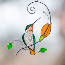 Load image into Gallery viewer, Stained glass hummingbird with orange flower suncatcher