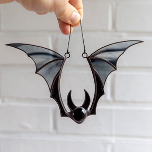 Stained glass black-winged bat suncatcher