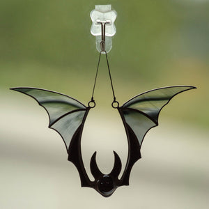 Stained glass spooky Halloween black bat