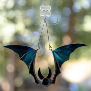 Stained glass blue Halloween bat home decor