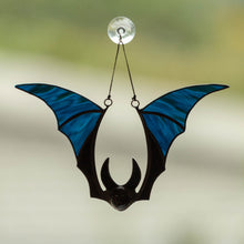 Load image into Gallery viewer, Halloween stained glass blue-winged bat horror decor