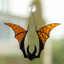 Load image into Gallery viewer, Brown stained glass bat window hanging