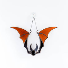 Load image into Gallery viewer, Brown stained glass bat suncatcher