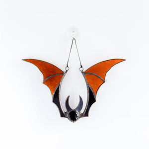 Brown stained glass bat suncatcher