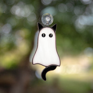 Stained glass cat ghost with black tail Halloween window hanging