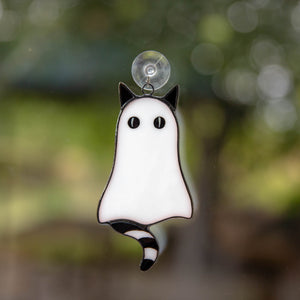 Halloween stained glass cat ghost suncatcher with black-and-white tail