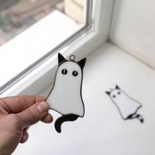 Load image into Gallery viewer, Stained glass Halloween cat ghost window hanging