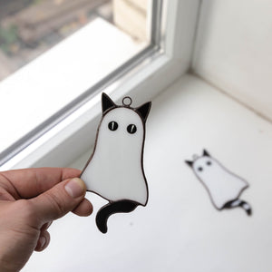 Stained glass Halloween cat ghost window hanging