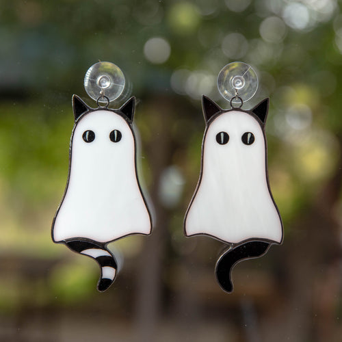 Halloween stained glass cute cat ghosts suncatchers
