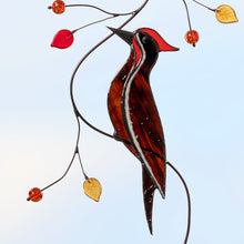 Load image into Gallery viewer, Pileated woodpecker on the branch stained glass suncatcher  Edit alt text