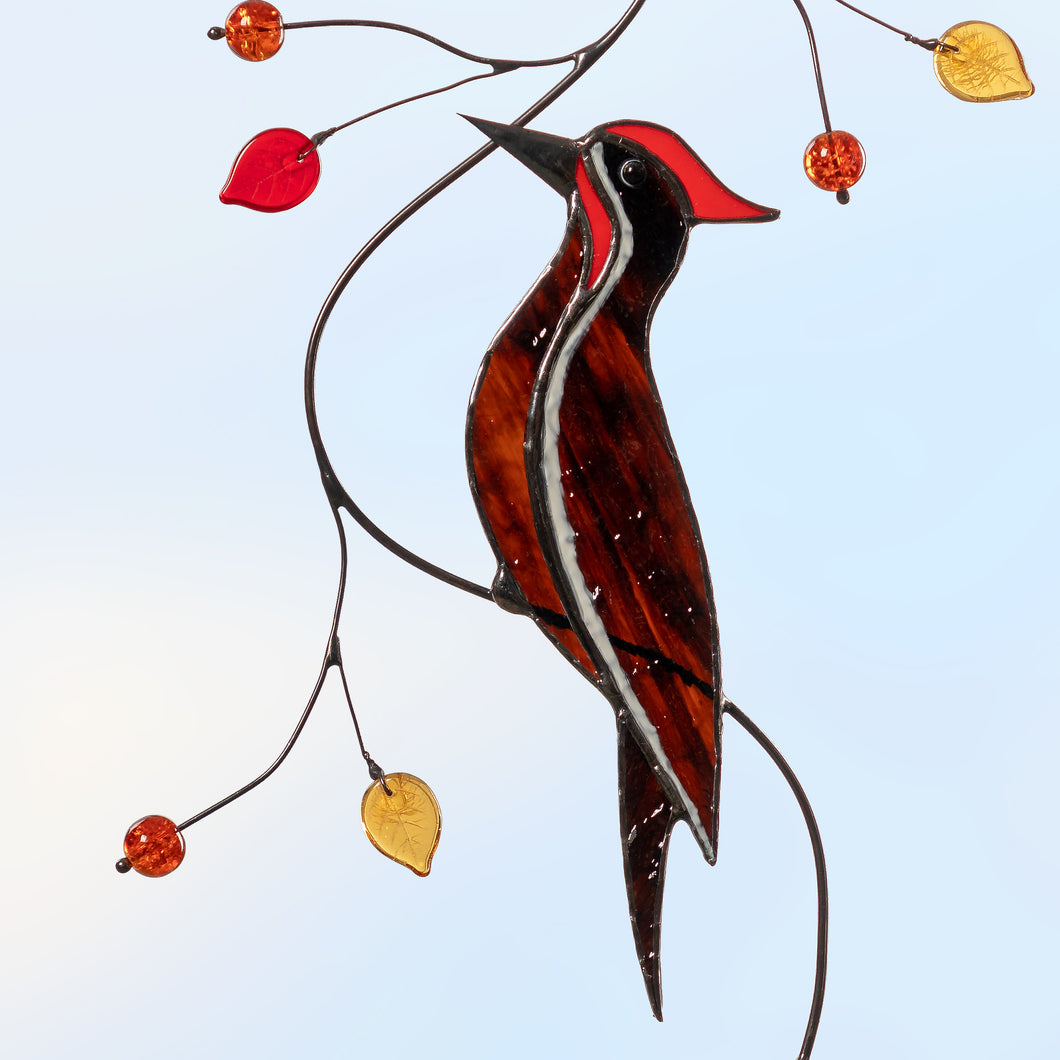 Pileated woodpecker on the branch stained glass suncatcher  Edit alt text