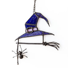 Load image into Gallery viewer, Halloween witch hat suncatcher with broom and spider