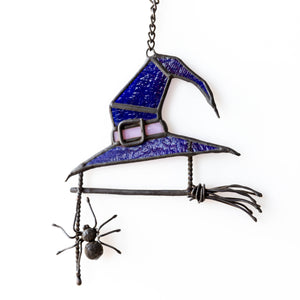 Halloween witch hat suncatcher with broom and spider