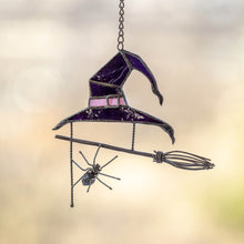 Load image into Gallery viewer, Stained glass purple witch hat suncatcher for Halloween