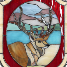 Load image into Gallery viewer, Zoomed stained glass deer panel for home decor