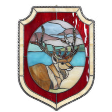 Load image into Gallery viewer, Deer in the forest panel of stained glass with red and beige frames