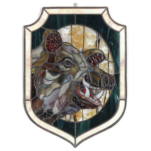 Boar with its razors panel of stained glass for home decor