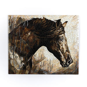 Stained glass mosaic depicting brown horse in the rain for home decor