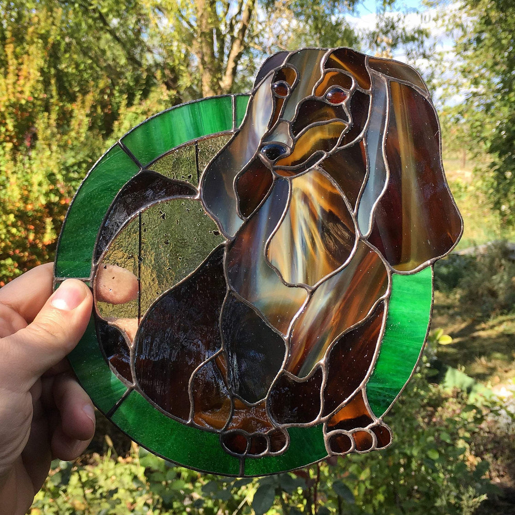 Stained glass portrait of a Dachshund window hanging made from photo