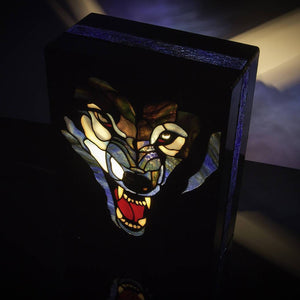 Top view of stained glass wolf lamp