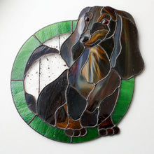Load image into Gallery viewer, Stained glass custom portrait of a daxie