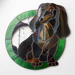 Stained glass custom portrait of a daxie