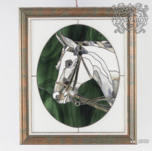 Horse portrait panel of stained glass for window hanging