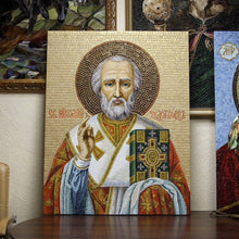 Load image into Gallery viewer, Zoomed stained glass icon mosaic depicting St. Nicolas