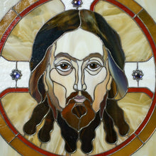 Load image into Gallery viewer, Zoomed stained glass portrait of Jesus Christ in a round with inserted gems panel