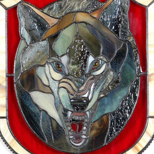 Load image into Gallery viewer, Zoomed stained glass wolf portrait showing his fangs panel