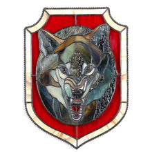Load image into Gallery viewer, Window hanging of a stained glass wolf portrait in red background