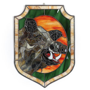 Stained glass boar's head window panel