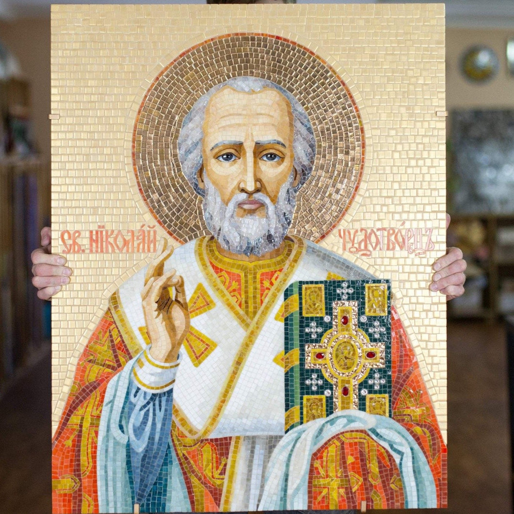 St Nicholas stained glass mosaic religious icon
