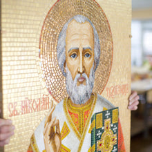 Load image into Gallery viewer, Zoomed stained glass mosaic depicting St. Nicolas