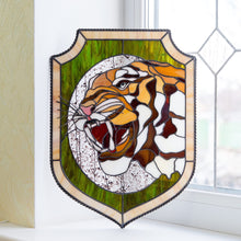 Load image into Gallery viewer, Stained glass panel depicting tiger and his fangs
