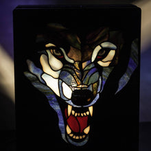 Load image into Gallery viewer, Zoomed stained glass wolf showing his fangs lamp