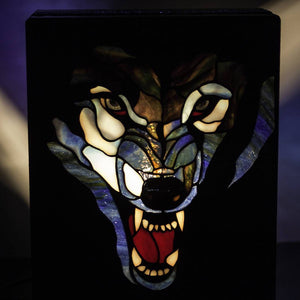 Zoomed stained glass wolf showing his fangs lamp
