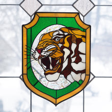 Load image into Gallery viewer, Tiger showing his fangs panel of stained glass
