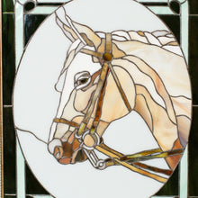 Load image into Gallery viewer, Zoomed stained glass horse portrait framed panel