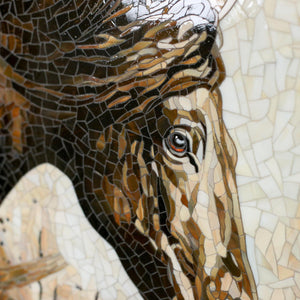 Zoomed stained glass horse under the rain mosaic