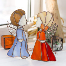 Load image into Gallery viewer, Pair of stained glass blue boy and red girl angels suncatachers