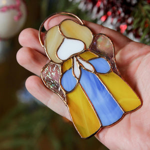 Stained glass yellow-blue angel window hanging
