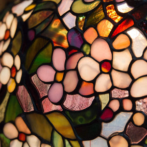 Zoomed stained glass cherry blossom chandelier