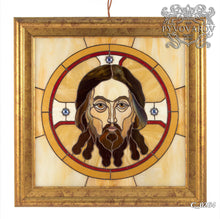 Load image into Gallery viewer, Stained glass Jesus Christ portrait in an oval with beige background framed panel